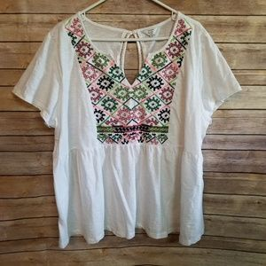 Crown & Ivy neon embroidered peplum top